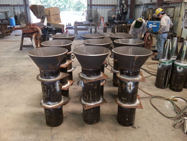 transponder buckets being fabricated